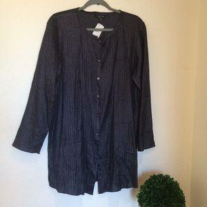 Eileen Fisher Navy Rumpled Silk Tussah Tunic | M